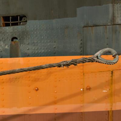 Detaljbild på lastfartyget Fryken